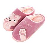 """Тапочки домашні кімнатні жіночі """"Котик"""". Тапки теплі зимові 34-35 р. (рожеві), фото 2"""