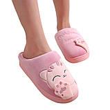 """Тапочки домашні кімнатні жіночі """"Котик"""". Тапки теплі зимові 34-35 р. (рожеві), фото 3"""