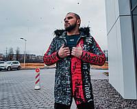 Зимняя мужская куртка-парка Off-Wite серо-красная с мехом