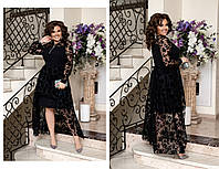 Изысканное вечернее черное платье. Размер:,50-52,54-56,58-60. Ткань:креп-дайвинг+ сетка флок