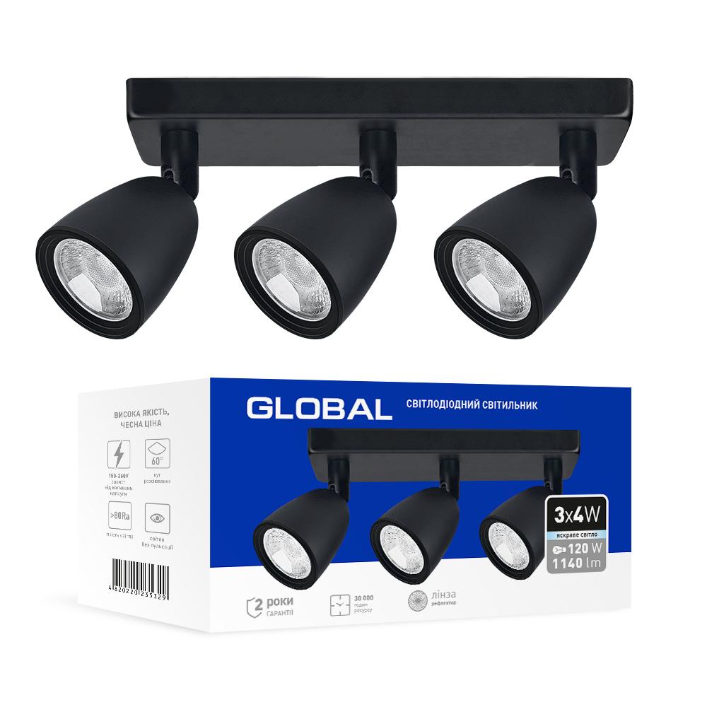 Спотовый светодиодный светильник (бра) GLOBAL 3-GSL-11241-SB 3x4W 4100K Черный