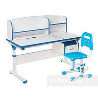 Комплект регулируемая парта с надстройкой и выдвижным ящиком  Creare Blue + детский стул  SST3L Blue FunDesk