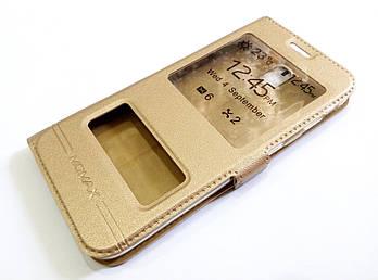 Чехол книжка с окошками momax для Samsung Galaxy J5 j530 (2017) золотой