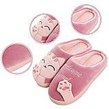 """Тапочки домашні кімнатні жіночі """"Котик"""". Тапки теплі зимові 34-35 р. (рожеві), фото 4"""
