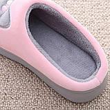 """Тапочки домашні кімнатні жіночі """"Котик"""". Тапки теплі зимові 34-35 р. (рожеві), фото 7"""