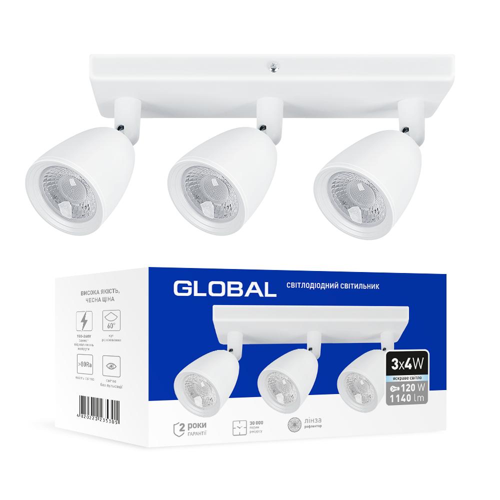 Спотовый светодиодный светильник (бра) GLOBAL 3-GSL-11241-SW 3x4W 4100K Белый
