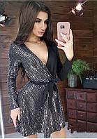 Платье женское короткое с верху на запах комбинированое (К29334), фото 1