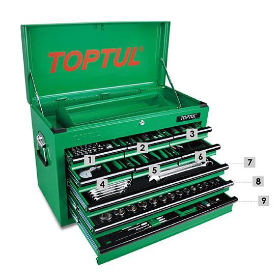 Ящик с инструментом (TBAA0901, 9 секций) 186 ед.  TOPTUL GCBZ186A