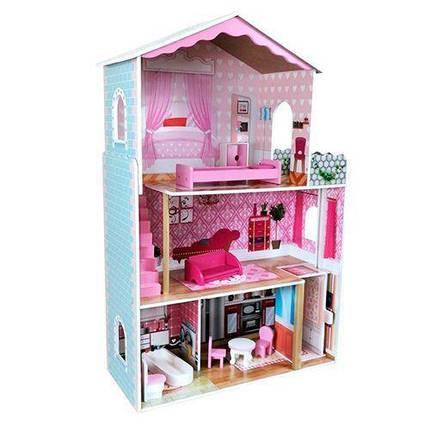 Кукольный домик деревянный 2098 с мебелью. 3 этажа. 71*108*29 см, фото 2