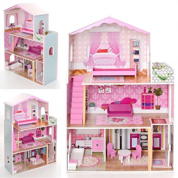 Кукольный домик деревянный 2098 с мебелью. 3 этажа. 71*108*29 см