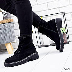 """Ботинки женские демисезонные, черного цвета из эко замши """"9121"""". Черевики жіночі. Обувь осенняя, фото 2"""