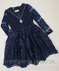 Сукня дитяче для дівчинки 140-152 синій,бордо ( код 4985-00 )