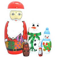 Деревянная игрушка Матрешка «Новогодняя компания», 5 в 1, развивающие товары для детей.