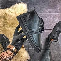 Мужские зимние кожаные угги UGG MAN Classic Short Black, черные.