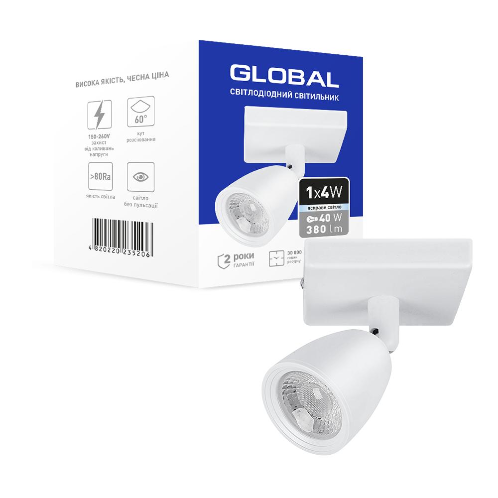 Спотовий світлодіодний світильник (бра) GLOBAL 1-GSL-10441-SW 4W 4100K Білий