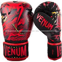 Боксерские перчатки Venum Dragon's Flight Boxing Gloves Black Red 10 oz