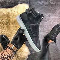 Мужские замшевые кроссовки Adidas Tubular Invader Black White Gum