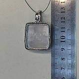 Кулон квадрат селенит натуральный кулон с селенитом в серебре Индия, фото 5