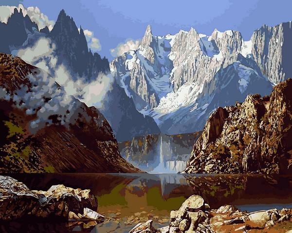 Картина для рисования по номерам Пейзаж Горное озеро 40х50см Babylon Turbo