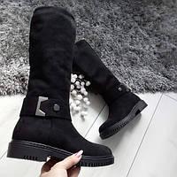 Чоботи жіночі чорні зимові екозамшеві на низькому каблуку