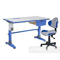 Комплект подростковая парта для школы Ballare Blue + ортопедическое кресло LST3 Blue-Grey FunDesk