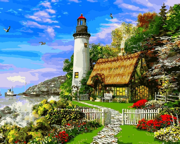Картина по номерам на холсте 40х50см Старый морской коттедж