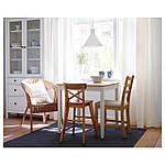 IKEA LERHAMN Стол, яркое пятно патины, белое пятно, 74x74 см (604.442.59), фото 2