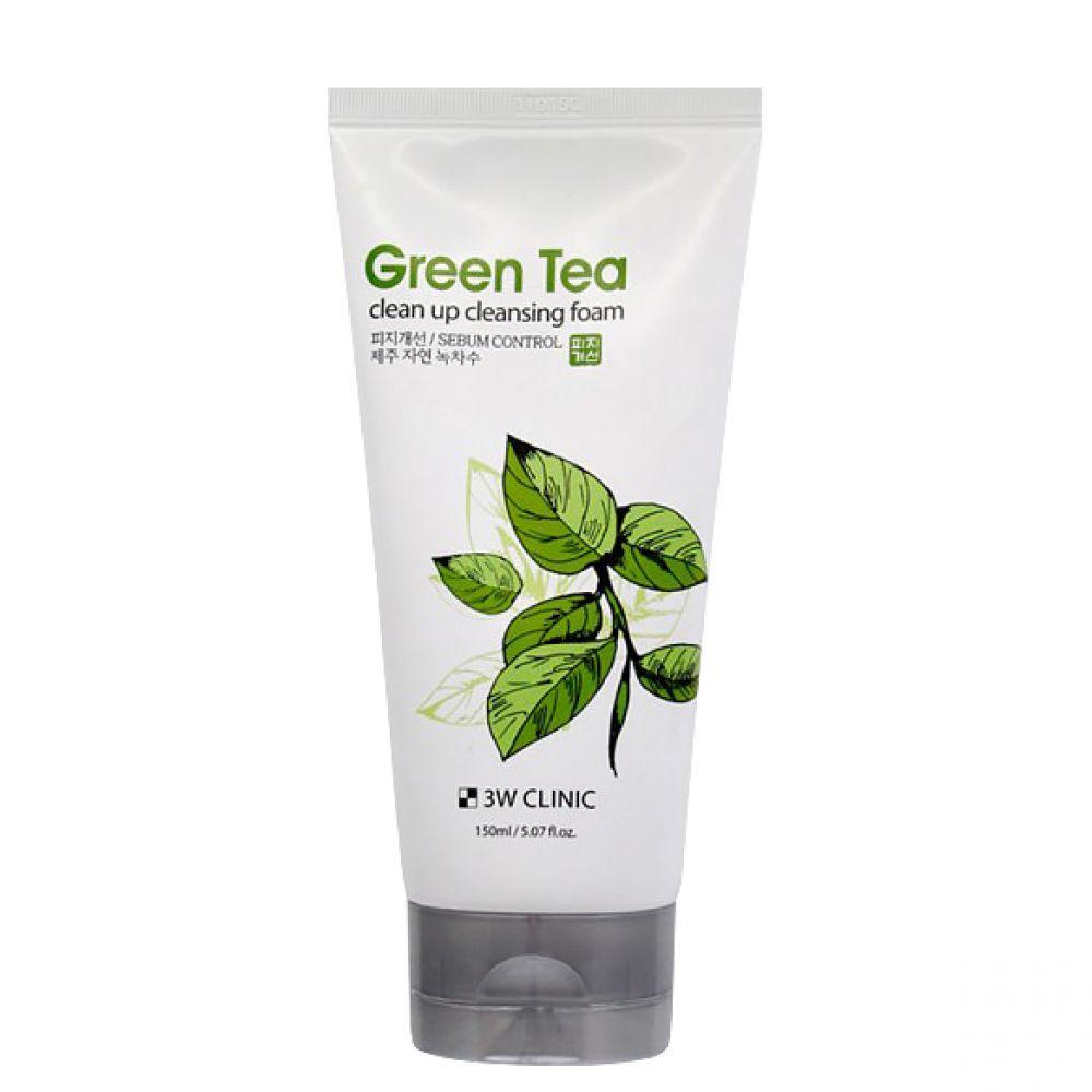 Увлажняющая пенка для умывания с экстрактом зелёного чая 3W Clinic Green Tea Clean Up Cleansing Foam 150 мл