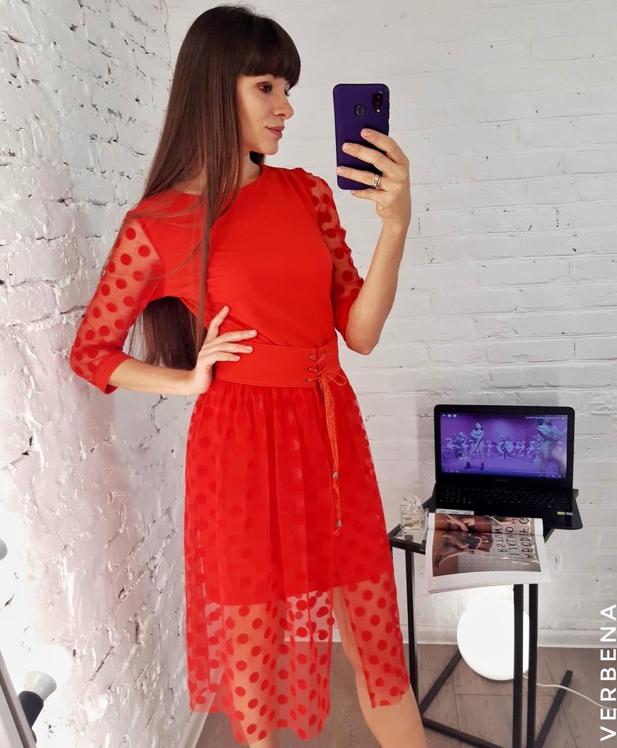 Женский комплект платье и юбка с поясом