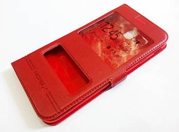 Чехол книжка с окошками для Samsung Galaxy J7 j730 (2017) красный