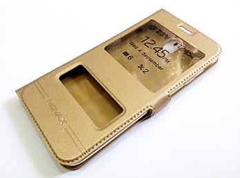 Чехол книжка с окошками для Samsung Galaxy J7 j730 (2017) золотой