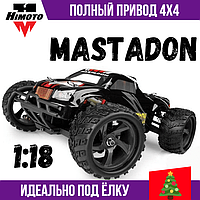 Машинка на радиоуправлении Himoto Mastadon E18MT 1:18 Brushed Монстр трак черный