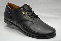 Туфли черные кожаные  со шнурками