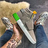Мужские замшевые кроссовки Adidas Tubular Invader Gray Green