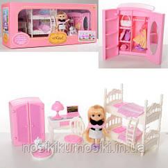 Кукольная мебель — спальня, куколка, питомец, шкаф, двухъярусная кровать