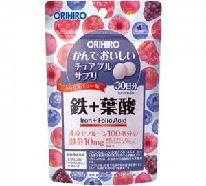 Orihiro фруктові жувальні таблетки з залізом, міддю, B6, В12, фолієвої к-ту, віт C 120 таб на 30 днів
