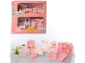 Кукольная мебель набор 2в1 — спальня и гостиная