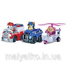 Щенячий Патруль з 3 собачок Чейс, Маршал, Скай на машинах. Paw Patrol Racers Chase, Marshall, Skye