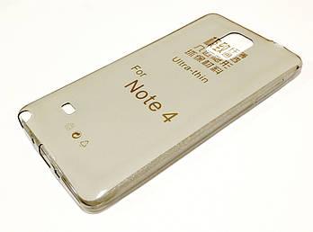 Чехол для Samsung Galaxy Note 4 N910 силиконовый ультратонкий прозрачный серый