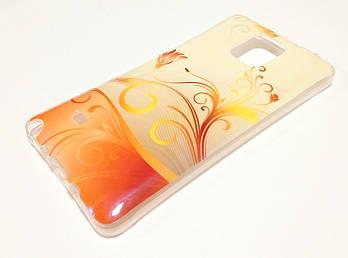 Чехол силиконовый с рисунком цветы для Samsung Galaxy Note 4 n910 персиковый