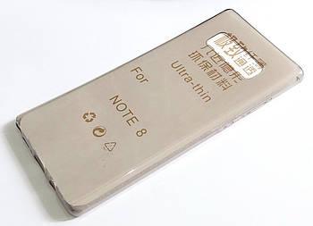 Чехол для Samsung Galaxy Note 8 N950 силиконовый ультратонкий прозрачный серый