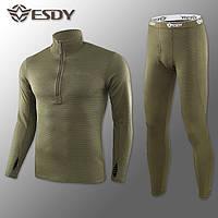 🔥 Комплект термобелья ESDY. Level-2 (олива) (флисовое термо-белье)