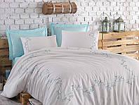 Комплект постельного белья Dantela Vita Embroidered Jenna beyaz-mint евро белый-ментоловый, 240x260 см, 200x220 см, 50x70 см
