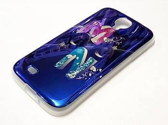 Чехол для Samsung Galaxy S4 i9500 силиконовый синий с рисунком moon