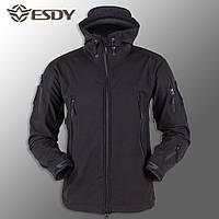 """🔥 Куртка Soft Shell """"ESDY. TAC-105"""" - Черная (непромокаемая куртка, тактическая, полицейская)"""