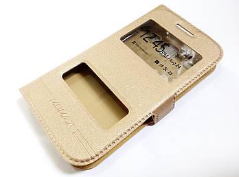Чехол книжка с окошками momax для Samsung Galaxy S5 mini g800h золотой