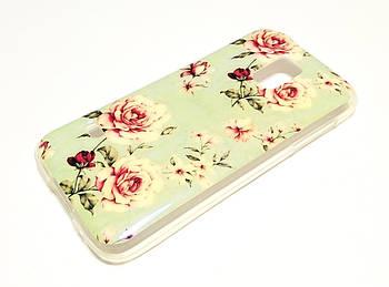 Чехол для Samsung Galaxy S5 mini g800h силиконовый с рисунком розы 1