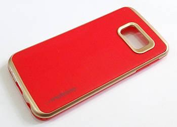 Чехол противоударный Motomo для Samsung Galaxy S6 edge G925 красный с золотым