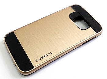 Чехол противоударный Motomo Verus для Samsung Galaxy S6 edge G925 золотой с черным