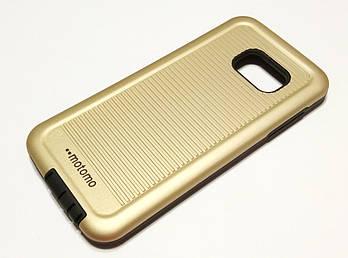 Чехол противоударный для Samsung Galaxy S7 G930 накладка Motomo Sport (Stripes) золотой